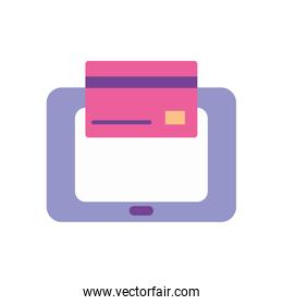 mobile banking concept, tablet and credit card icon, flat style