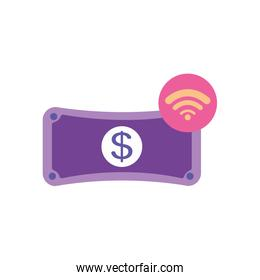mobile banking concept, money bill and wireless signal symbol, flat style