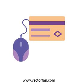 mobile banking concept, credit card and mouse device icon, flat style