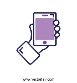 banking online concept, hand holding a smartphone icon, line color style