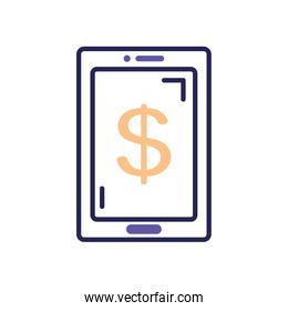 mobile banking concept, smartphone with money symbol icon, line color style