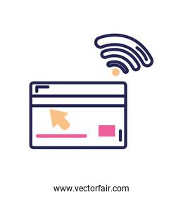 banking online concept, credit card with nfc sensor icon, line color style