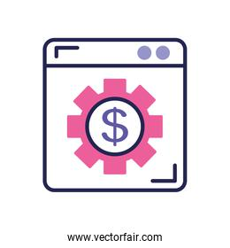 mobile banking concept, web page with gear with money symbol icon, line color style