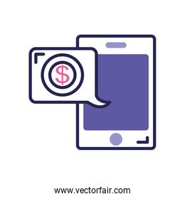 mobile banking concept, smartphone and speech bubble with money symbol, line color style