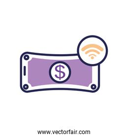 mobile banking concept, money bill and wireless signal symbol, line color style