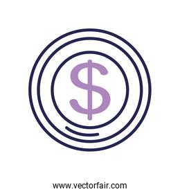 money coin icon, line color style