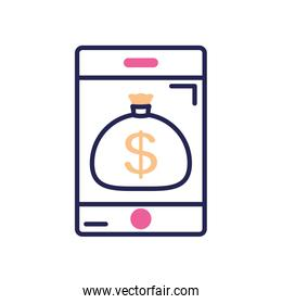 mobile banking concept, smartphone with money bag icon on screen, line color style