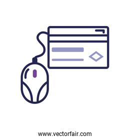 mobile banking concept, credit card and mouse device icon, line color style