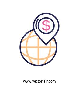 banking online concept, global sphere with location pin with money symbol icon, line color style