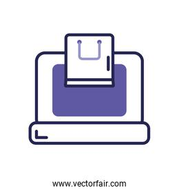 mobile banking concept, laptop computer with shopping bag icon, line color style