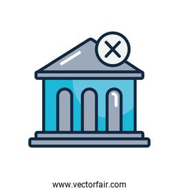 economic recession concept, bank building with forbidden sign icon, line color style