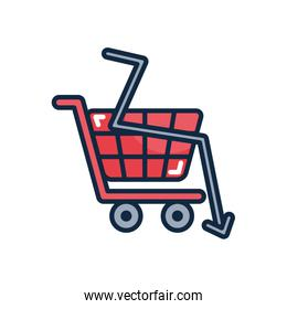 financial broke concept, shopping cart and financial arrow down icon, line color style