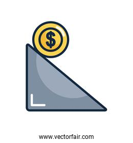 financial broke concept, ramp with money coin icon, line color style