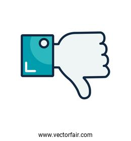 hand with thumb down icon, line color style
