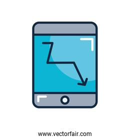 financial broke concept, smartphone with financial arrow down icon on screen, line color style