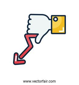 economic recession concept, hand with thumb down and financial arrow down, line color style
