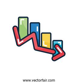 financial broke concept, graphic bar chart with financial arrow down icon, line color style