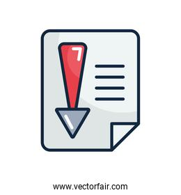 economic recession concept, financial document with arrow down icon, line color style