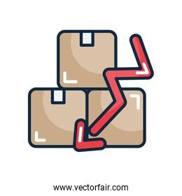 financial broke concept, packages boxes and financial arrow down icon, line color style