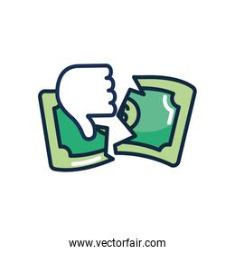 economic recession concept, hand with thumb down and broken money bill, line color style