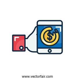 economic recession concept, hand holding a smartphone with broken money coin, line color style