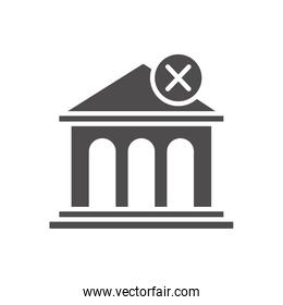 economic recession concept, bank building with forbidden sign icon, silhouette style