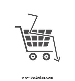 financial broke concept, shopping cart and financial arrow down icon, silhouette style