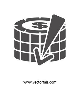 financial broke concept, money coins with arrow down icon, silhouette style