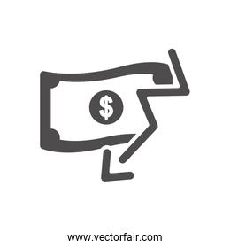 financial broke concept, money bill with financial arrow down icon, silhouette style