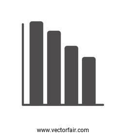 graphic bar chart icon, silhouette style