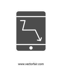 financial broke concept, smartphone with financial arrow down icon on screen, silhouette style