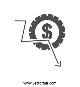economic recession concept, money coin and financial arrow down, silhouette style