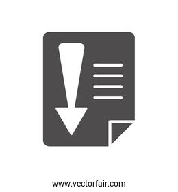 economic recession concept, financial document with arrow down icon, silhouette style