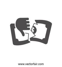 economic recession concept, hand with thumb down and broken money bill, silhouette style