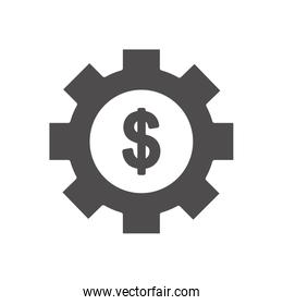 financial broke concept, gear wheel with money symbol icon, silhouette style