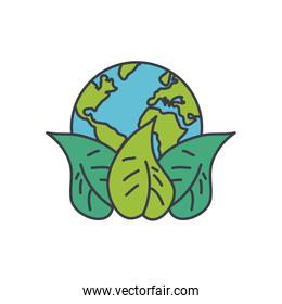 earth planet with leaves icon, fill style