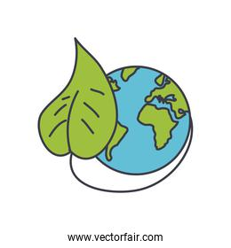 earth planet and leaf icon, fill style