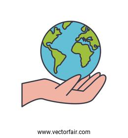 hand with earth planet icon, fill style