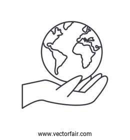 hand with earth planet icon, line style