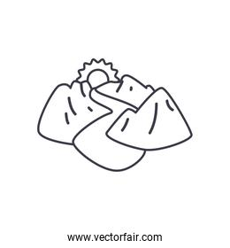 river, mountains and sun icon, line style