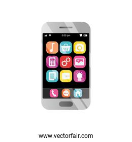 shopping online concept, smartphone with shopping apps, detailed style