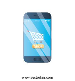 shopping online concept, smartphone with shopping cart on screen, detailed style