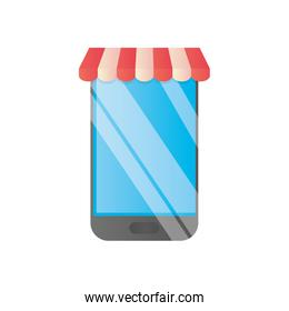shopping online concept, smartphone with store tent icon, detailed style