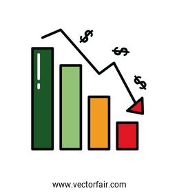 graphic bar chart with money symbols falling over white background, line and fill style