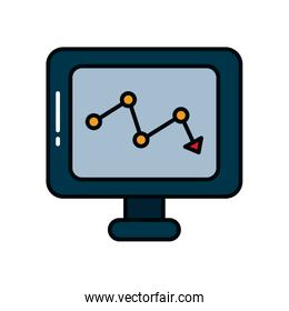 computer with descending financial arrow down icon, line and fill style
