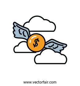 money coin with wings flying over white background, line and fill style