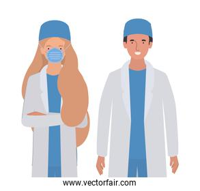 Man and woman doctor with uniforms and mask vector design