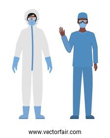 Doctors with protective suits glasses and masks against Covid 19 vector design