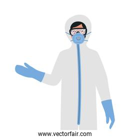 Doctor with protective suit glasses and mask against Covid 19 vector design