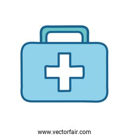 Medical kit with cross line and fill style icon vector design